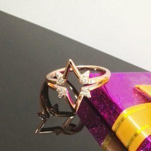 Дамски пръстен с впечатляващ дизайн. Розово златно покритие