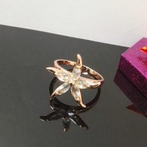 Стилен дамски пръстен с розово златно покритие