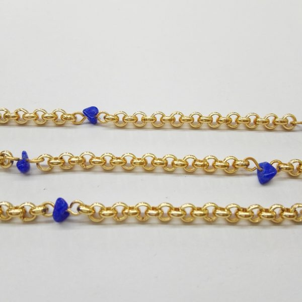 Бижута на метър синджир 4 мм със син ахат и цвят на розово злато