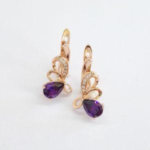 Дамски обеци с изящна форма с лилави и бели кристали Дължина 18мм