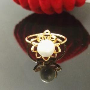 Дамски пръстен с перла. 18К златно покритие