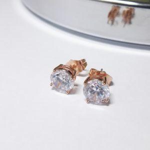 Позлатени дамски обеци с бял цирконий на винт.Розово златно покритие