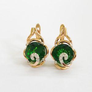 Позлатени дамски обеци със зелен цирконий