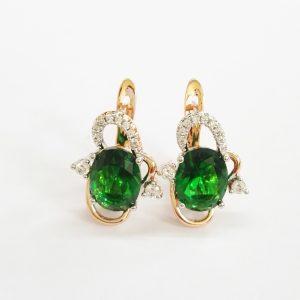 Позлатени дамски обеци със зелени и бели цирконии