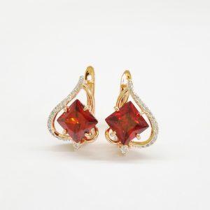 Позлатени дамски обеци с червени цирконии