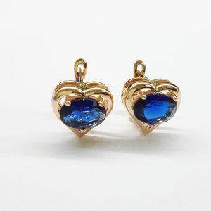 Позлатени дамски обеци със сини цирконии