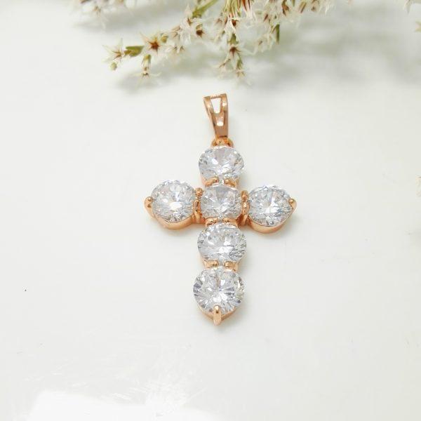 Позлатена висулка Кръст с бели цирконии