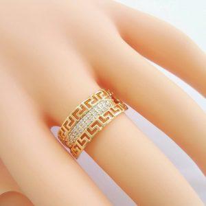 """Дамски пръстен """"Версаче""""с микроцирконии. 18К златно покритие"""