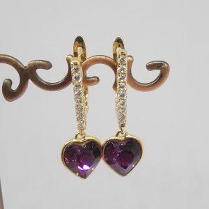 Дамски обеци с кристали Swarovski,цвят виолетов. 18К златно покритие размер 30/10 мм