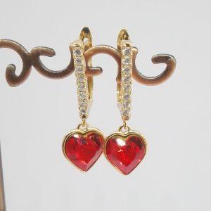 Дамски обеци с кристали Swarovski,цвят червен. 18К златно покритие размер 30/10 мм
