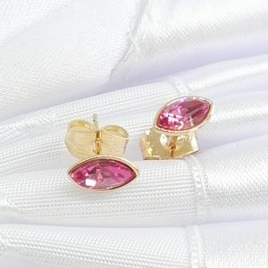 Дамски обеци с кристали Swarovski, розов цвят .18К златно покритие размер 9/5 мм