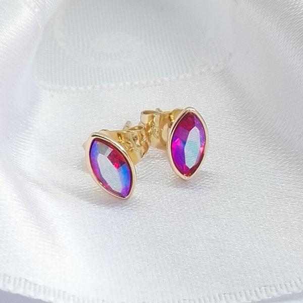 Дамски обеци с кристалSwarovski,перлено червен цвят .18К златно покритие размер 9/5 мм