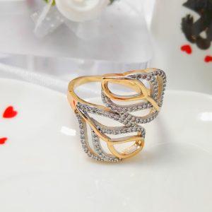 """Дамски пръстен """"Хармония"""" с родиево покритие и бели микроцирконии. 18К златно покритие"""