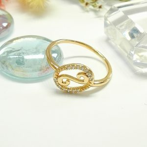 """Дамски пръстен """"Безгранична любов""""- бели кубични цирконии. 18К златно покритие"""