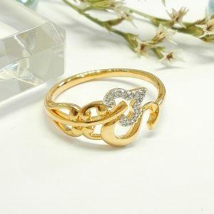 """Дамски пръстен """"Безгранична любов"""" с родиево покритие и бели цирконии. 18К златно покритие"""