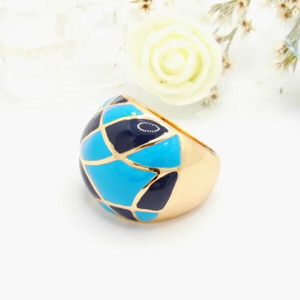 Масивен дамски пръстен със син емайл .18К златно покритие