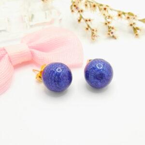 Дамски обеци със син емайл.18К златно покритие