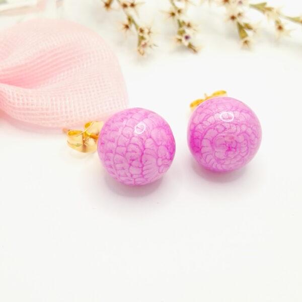 Дамски обеци с лилав емайл.18К златно покритие
