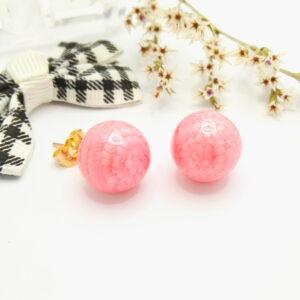 Дамски обеци с розов емайл.18К златно покритие