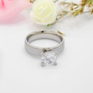 """Дамски пръстен """"Изяществен""""с акцент бял кубицен цирконий.Бяло златно покритие"""