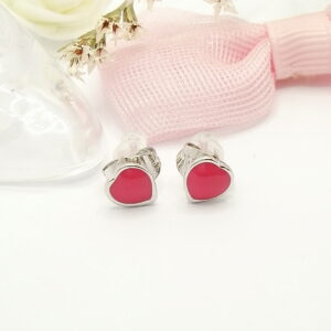 """Дамски обеци """" Сърце """" с розов емайл .Бяло златно покритие"""