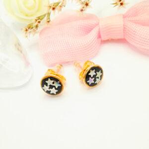 """Дамски обеци на винт """" Звезди """" с черен емайл .18К златно покритие"""