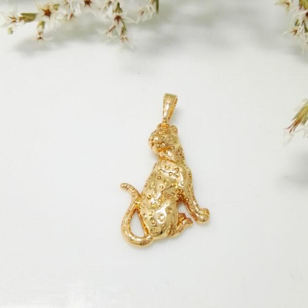 "Висулка ""Леопард"" с бели кубични цирконии. 18К златно покритие"