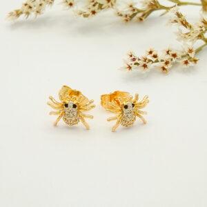 "Дамски обеци на винт ""Паяче"" с бели кубични цирконии.18К златно покритие"