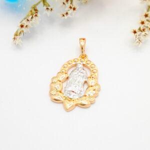 """Дамска висулка """"Иконка–Богородица"""" с родиево покритие. 18К златно покритие"""