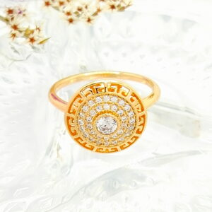 """Дамски пръстен """"Пресияна"""" с бели кубични цирконии.18К златно покритие"""