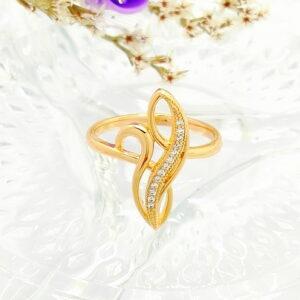 """Дамски пръстен """"Стихия"""" с бели кубични цирконии.18К златно покритие"""